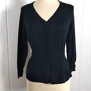 NWT Cabi Black Silk  Button Cardigan - XL